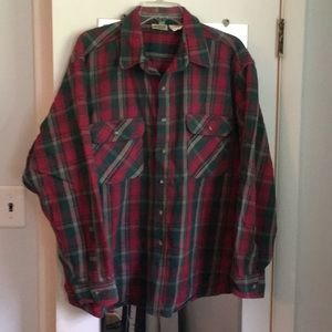 Other - Vintage flannel shirt XXL green and red plaid